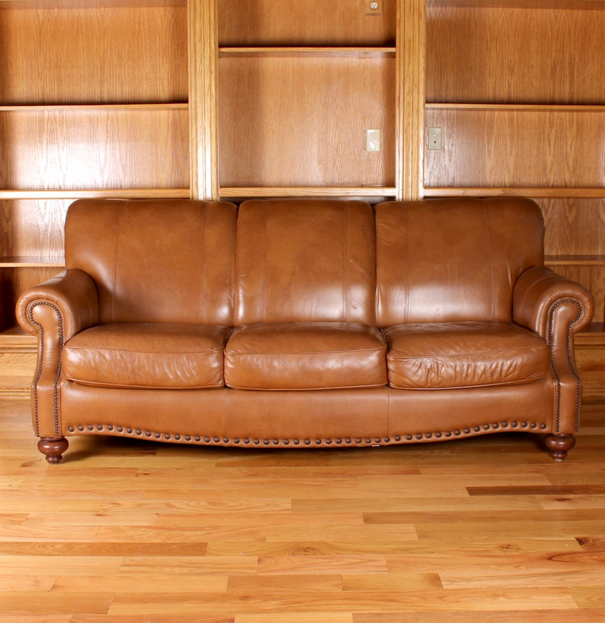 Light Brown Plush Leather Sofa Ebth