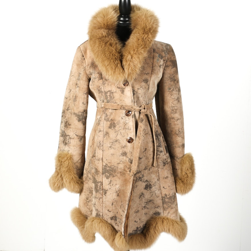 17ed8b440 Knoles & Carter Leather and Fox Fur Coat