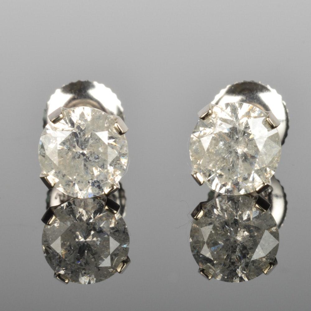 14K Solid Gold 2.12 CTW Diamond Earrings