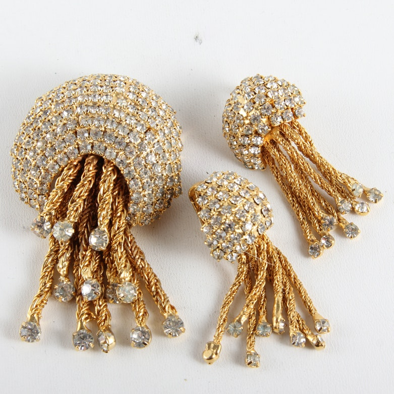 Art Deco Jellyfish Brooch and Earrings Set