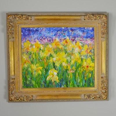 Karen Rolfes Field of Daffodils Original Oil Painting