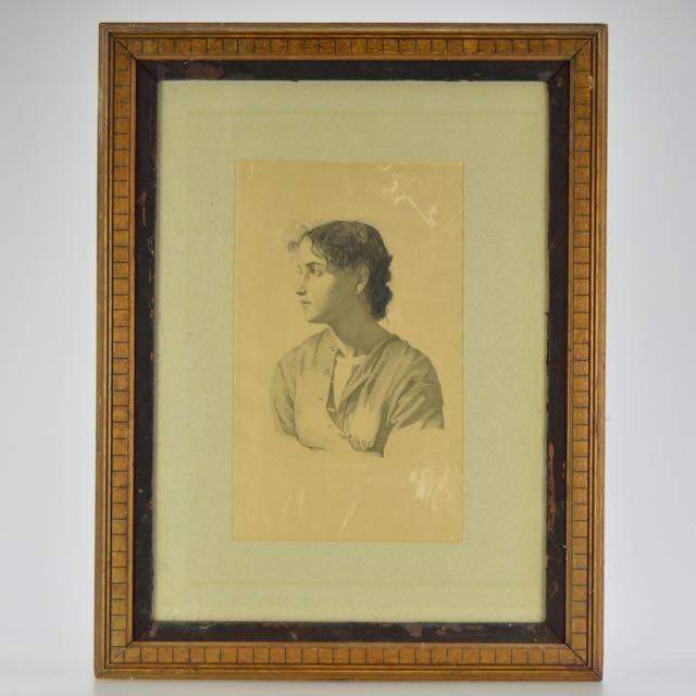 """Antique Framed Engraving on Silk """"Maritta"""" by Hans Meyer"""