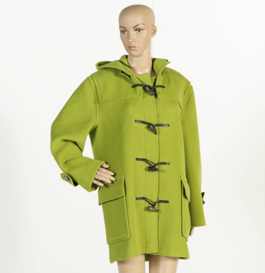 Burberry Lime Green Duffle Coat with Toggle Buttons : EBTH
