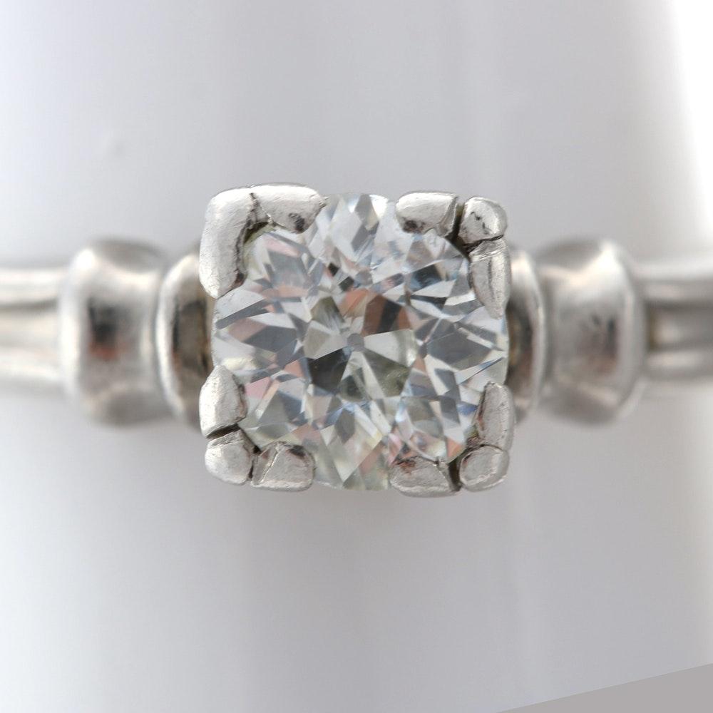 Palladium and Diamond Ring
