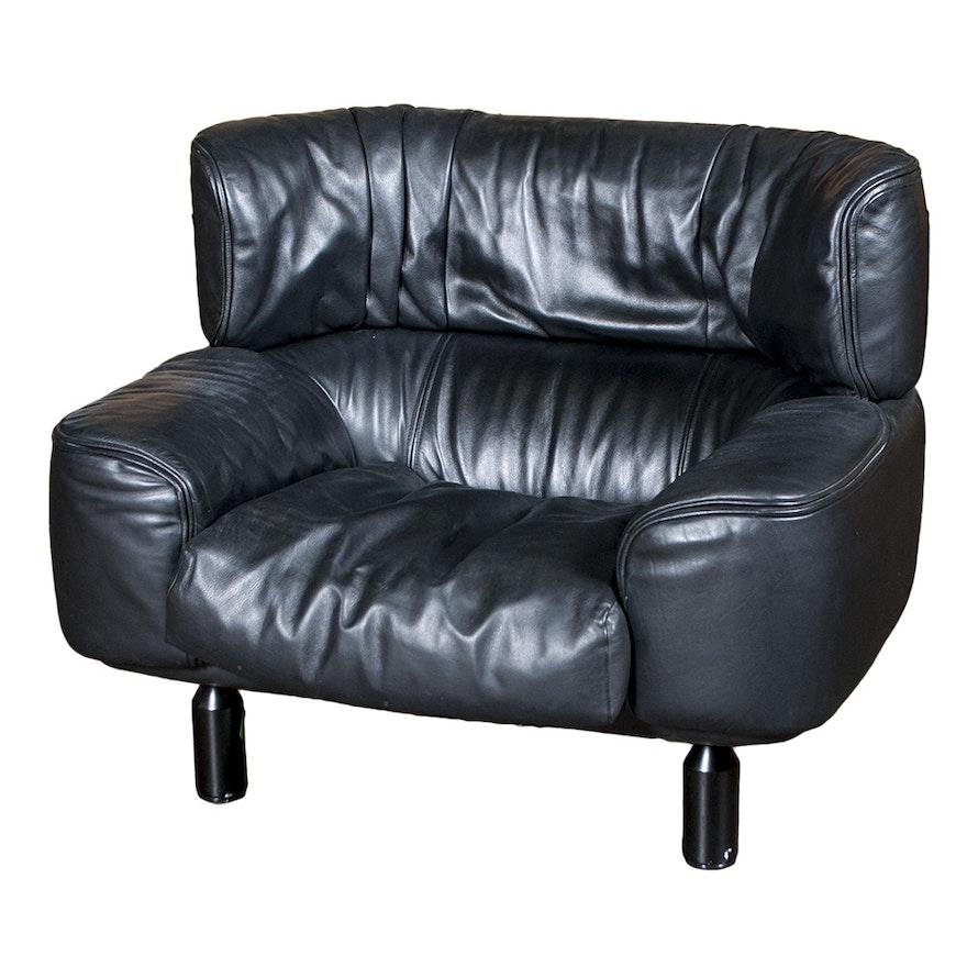 Vintage Cina Furniture Black Leather Arm Chair