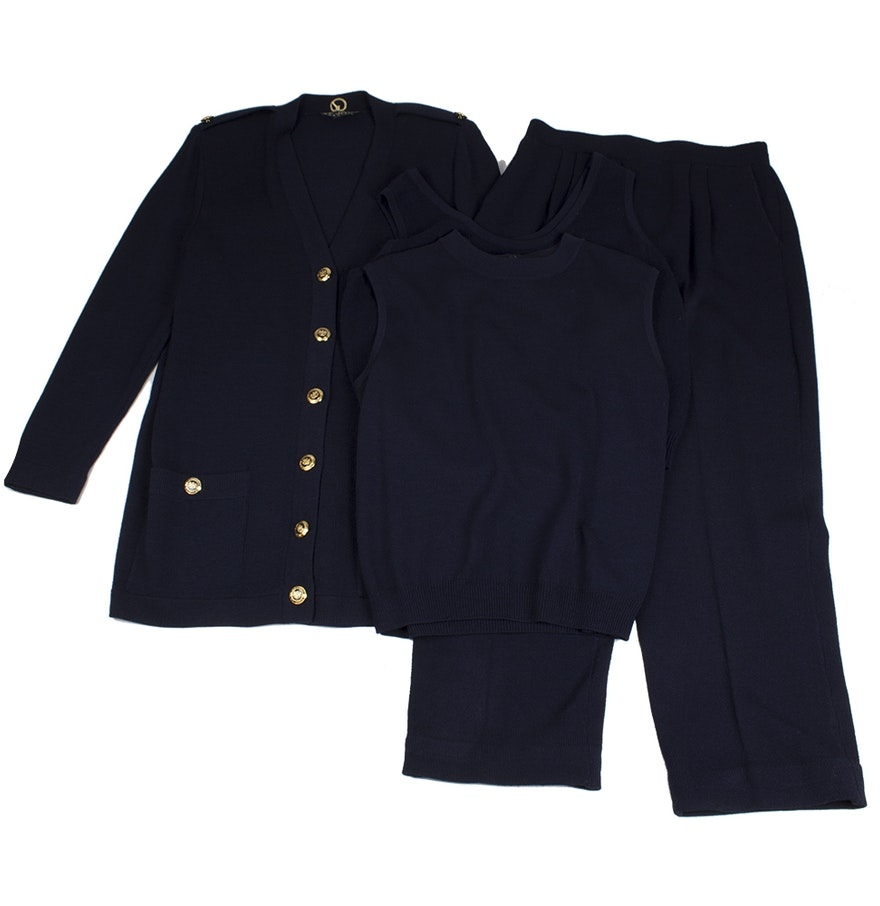 Perfect   Women Offices Pants Suits Styles Navy Navy Blue Stripes Wool