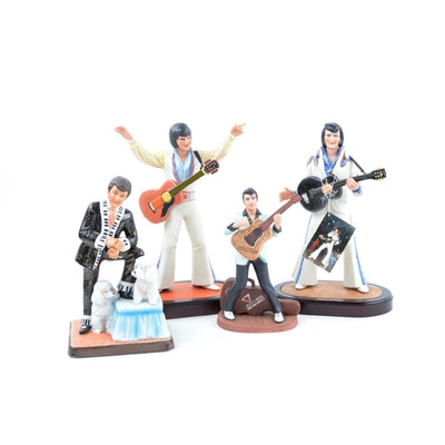 Mid-80s L/E Elvis Presley Figurines and L/E Liberace Figurine