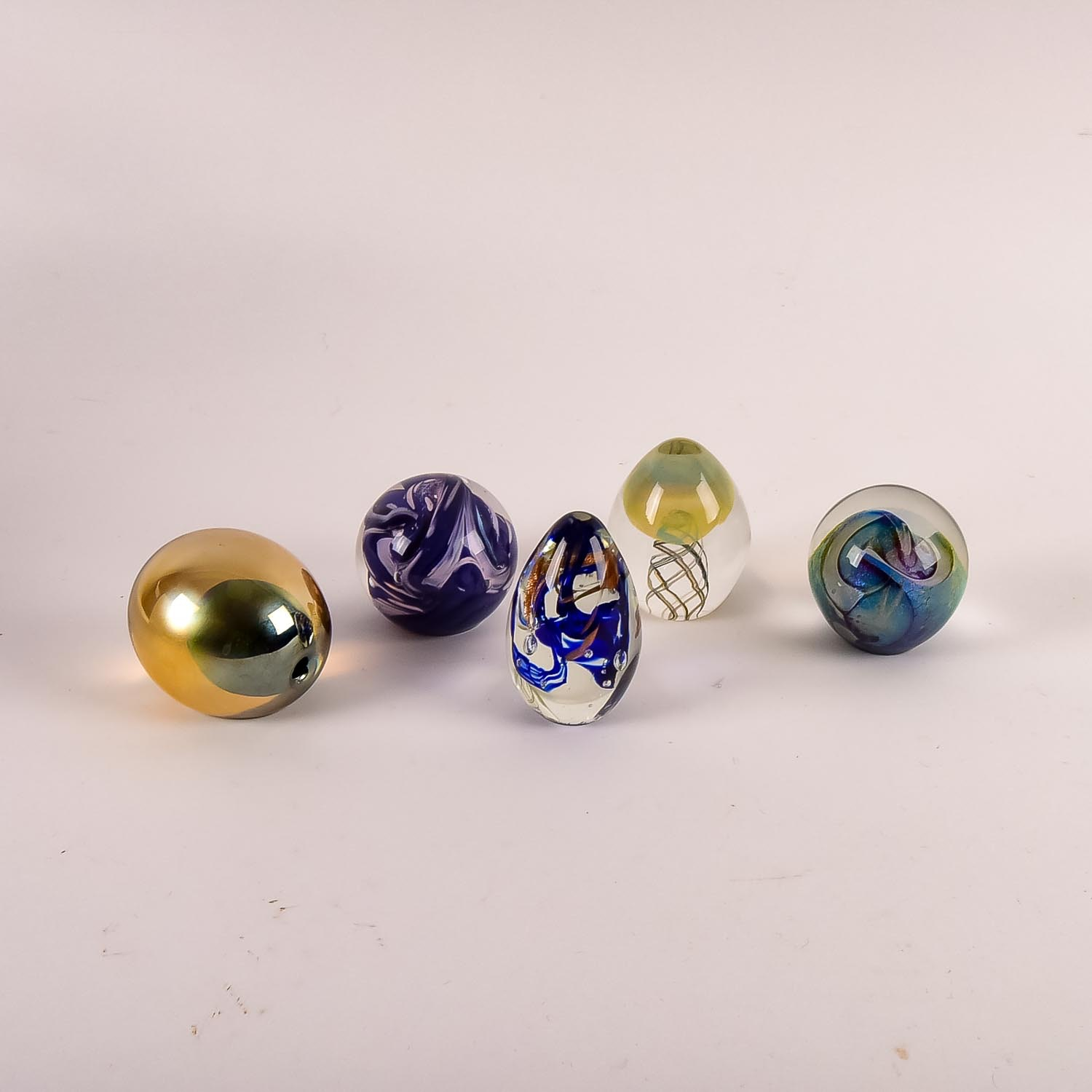 Collection of Five Art Glass Paperweights