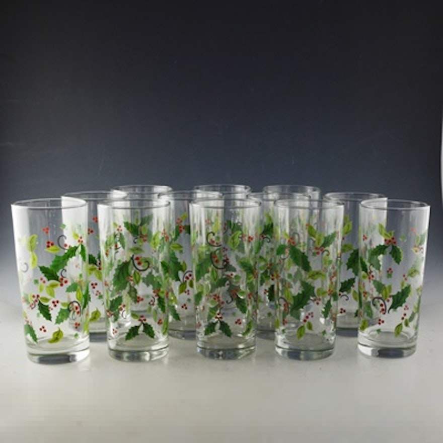 holly berry christmas drinking glasses - Christmas Drinking Glasses