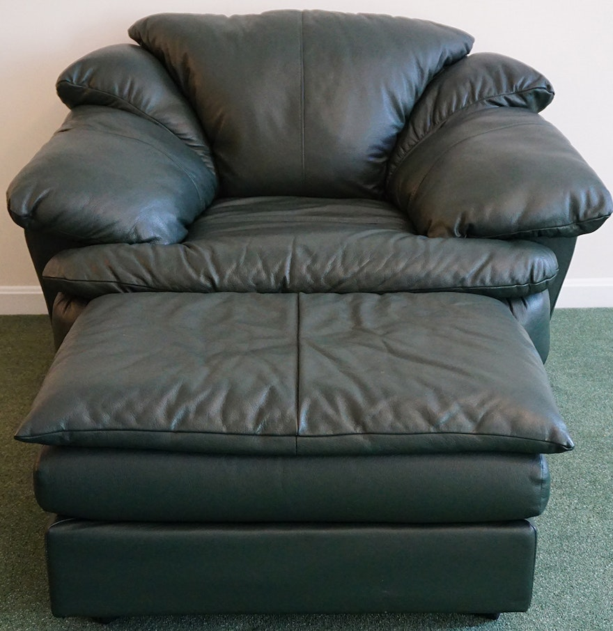 Oversized Hunter Green Leather Chair And Ottoman