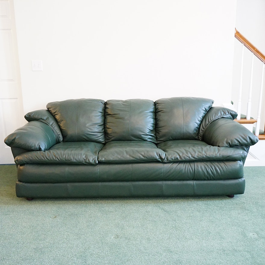 Hunter Green Leather Sofa