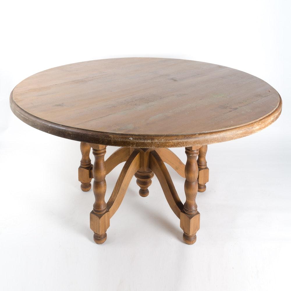 Vintage Pine Round Top Table