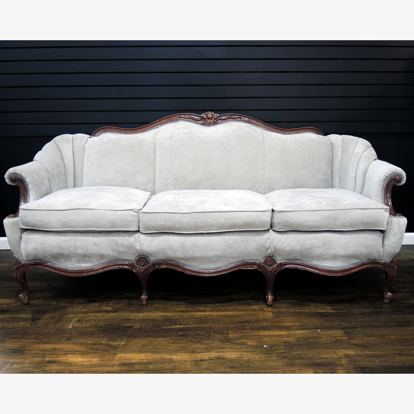 Vintage Queen Anne Sofa with Updated Grey Upholstery EBTH