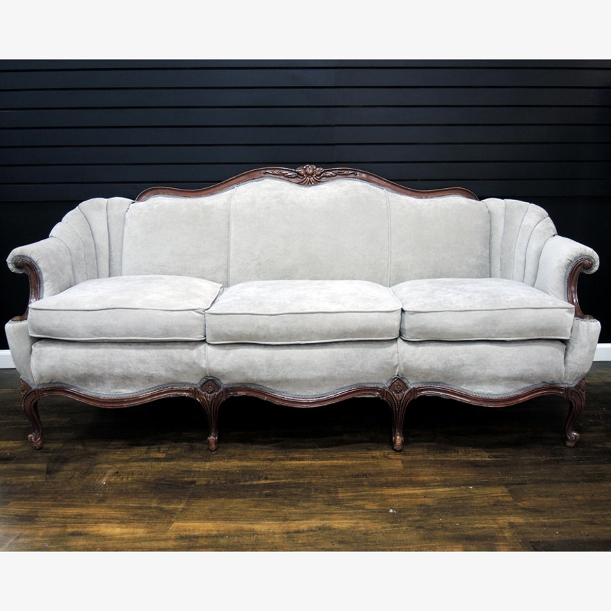 Vintage Queen Anne Sofa With Updated Grey Upholstery