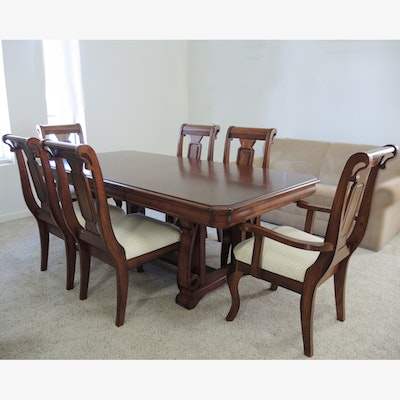 Open Trestle Dining Table With Six Chairs