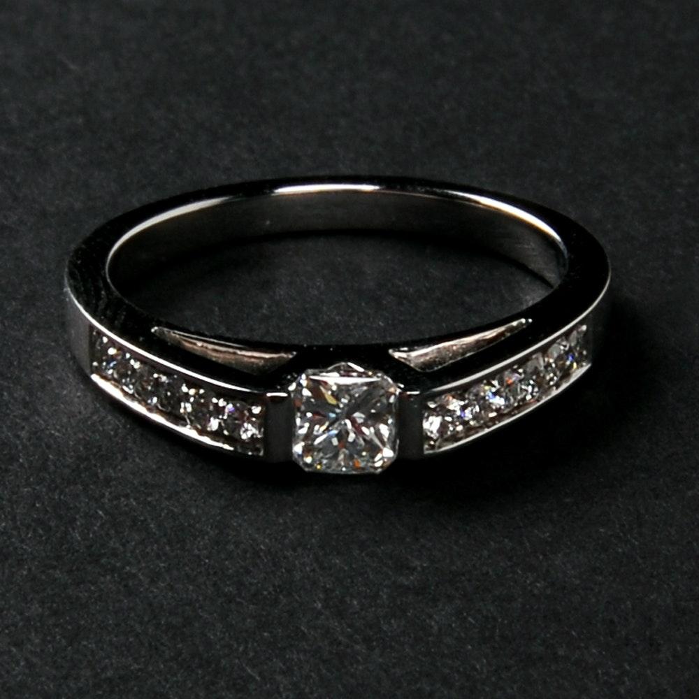 Korloff 18 Karat White Gold Tension Set 0.28 CT Diamond Ring