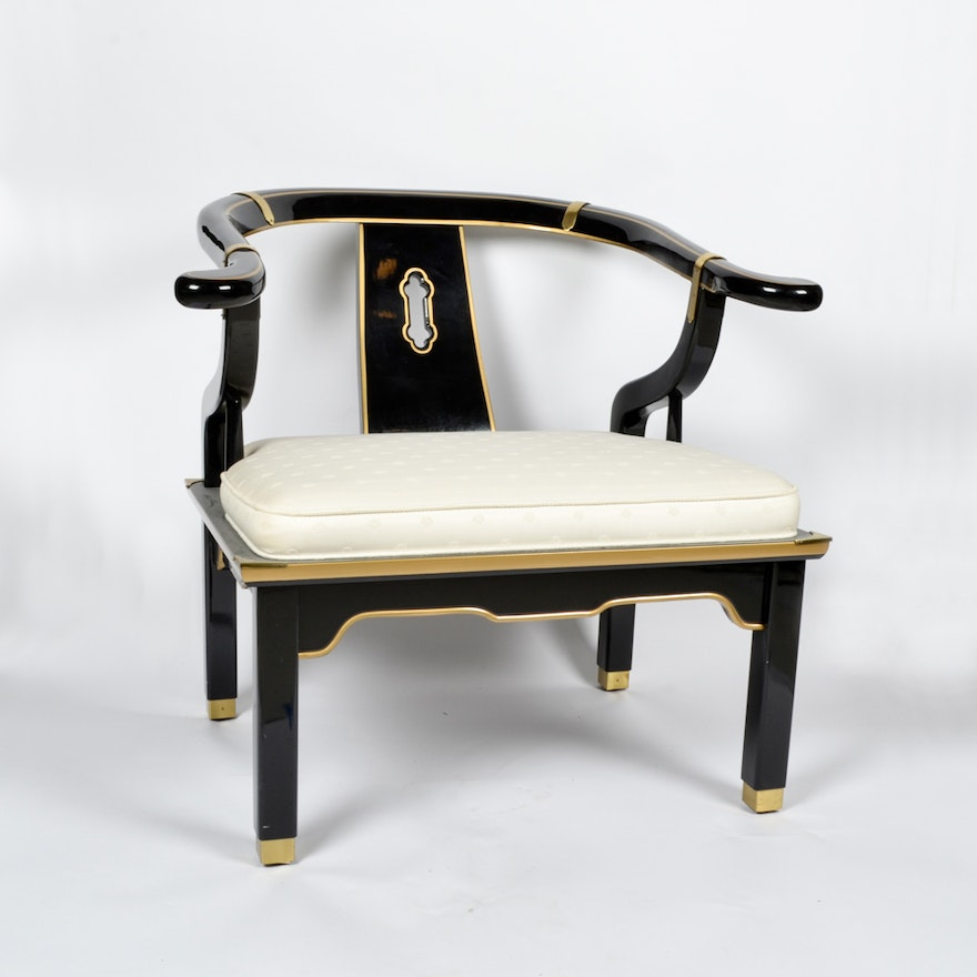 century chair company black lacquered chair ebth