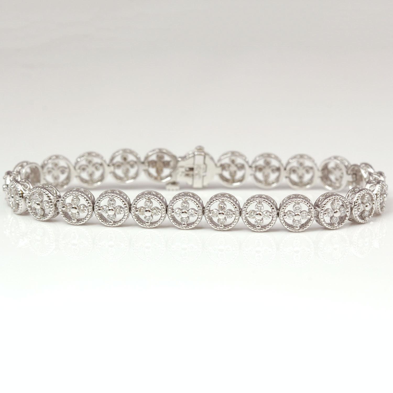 14K White Gold 1.50 Carat Diamond Bracelet
