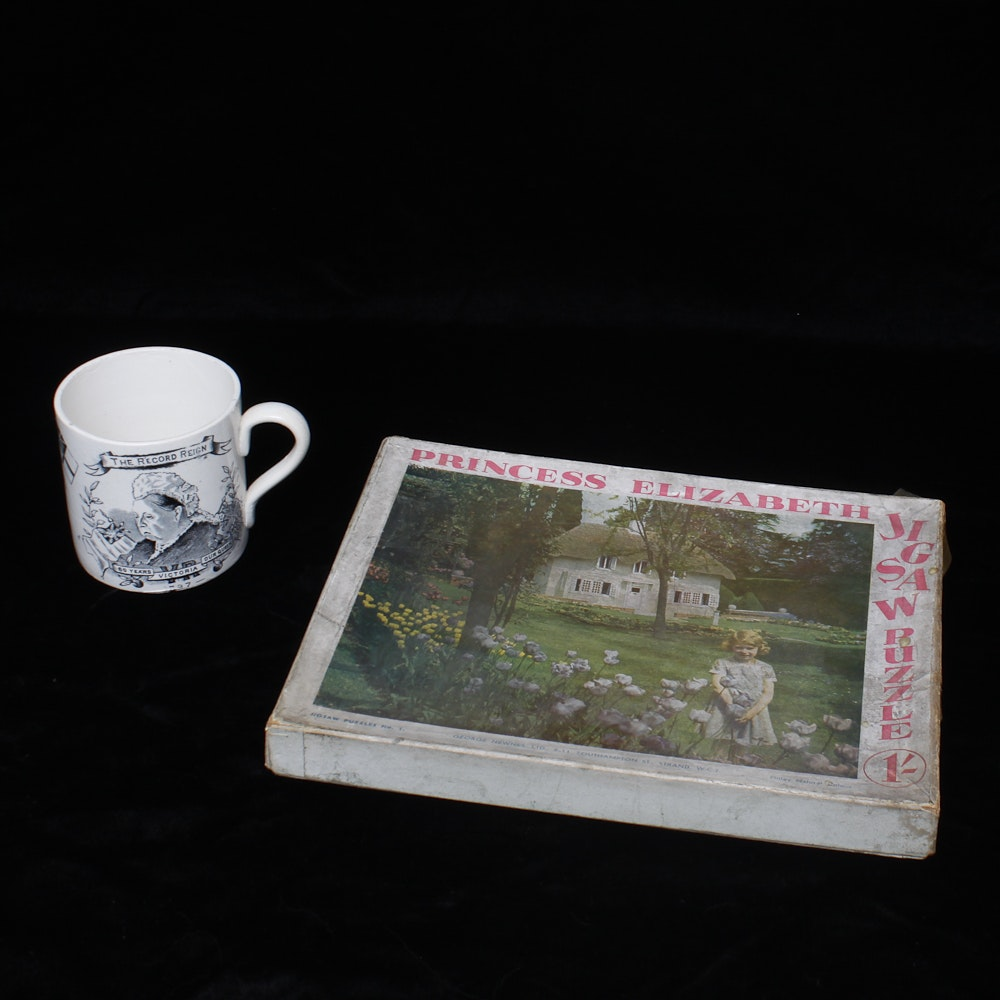 Vintage Queen Victoria China Mug and Princess Elizabeth Jigsaw Puzzle
