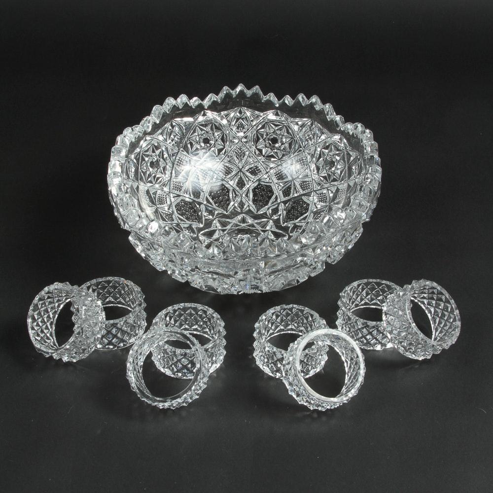 Crystal Bowl and Napkin Rings
