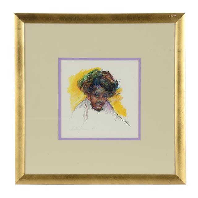 Original Pastel Portrait Signed by Artist Zeigler
