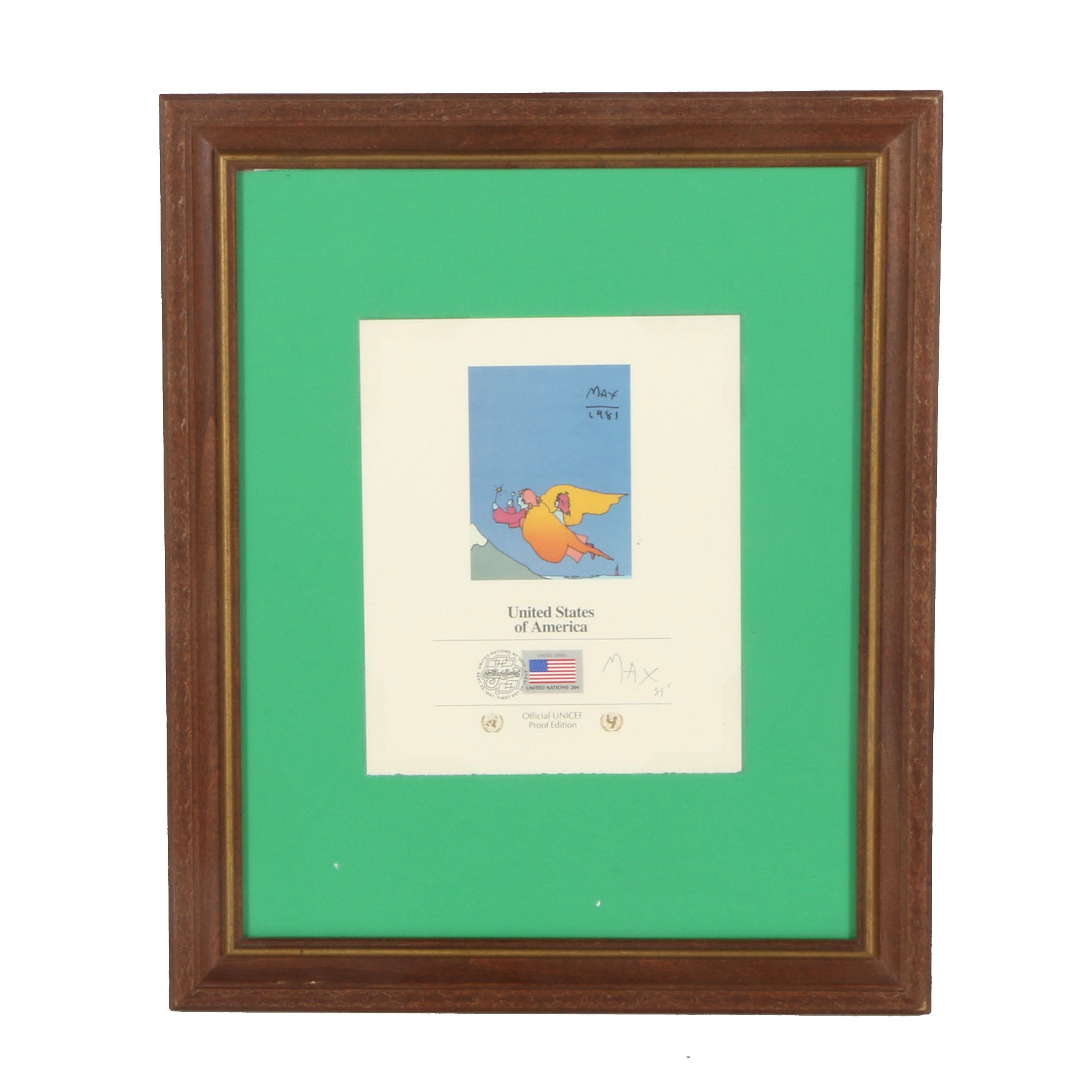 """Peter Max Signed Commemorative Cancellation Page """"Highest Mountain"""""""