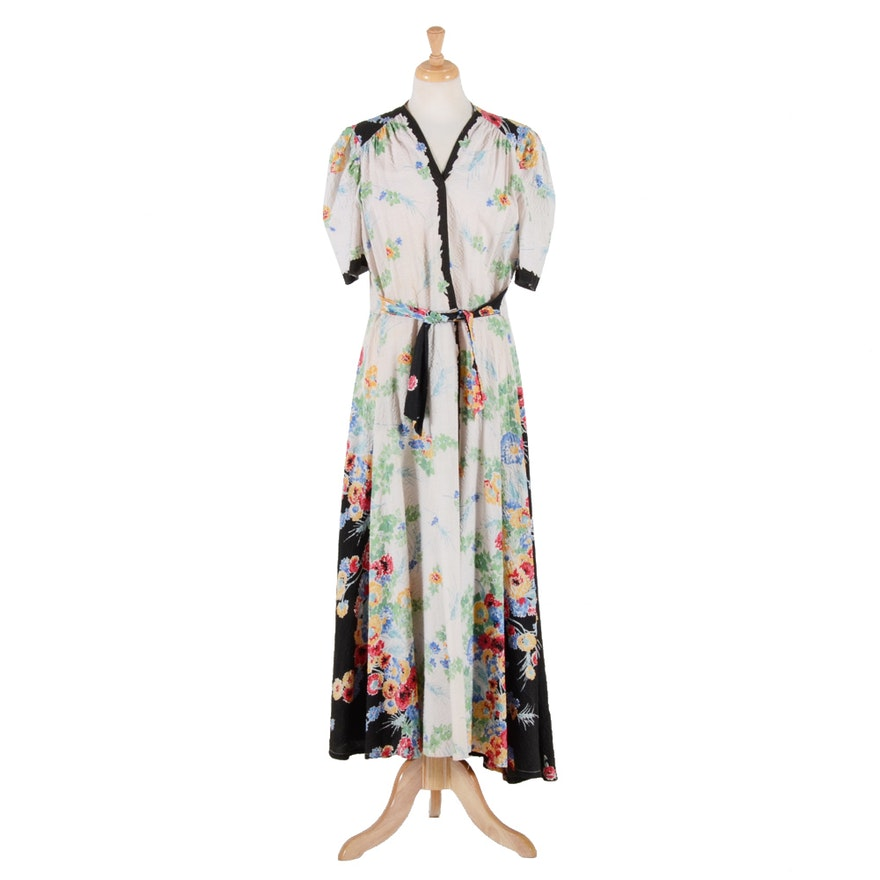 1930s Vintage Seersucker Dressing Gown : EBTH