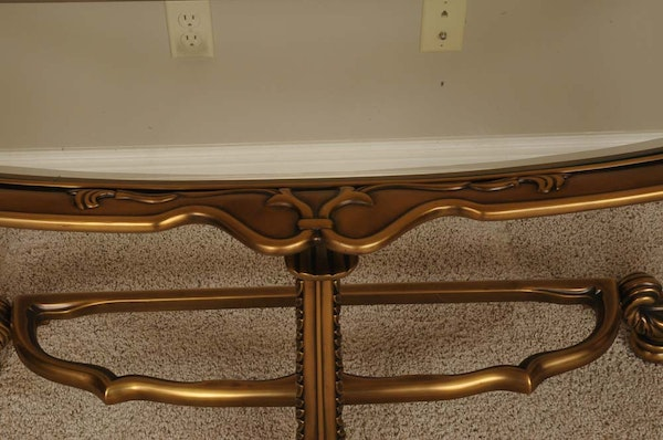 Glass top half moon shaped console table ebth for 1 2 moon table