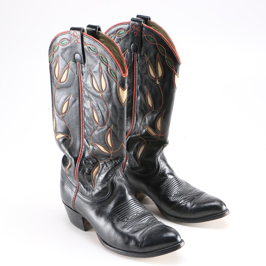 0c8c789313a Ralph Lauren Black Cowboy Boots with Foliate Inlay