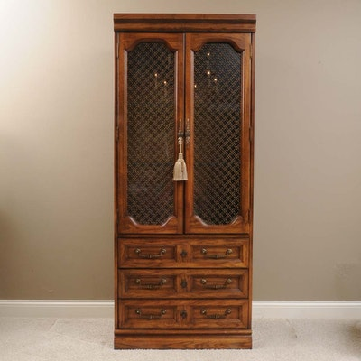 Tall Oak China Cabinet with Grill over Glass Doors - Vintage And Antique Cabinets Auction In Art, Traditional Furnishings