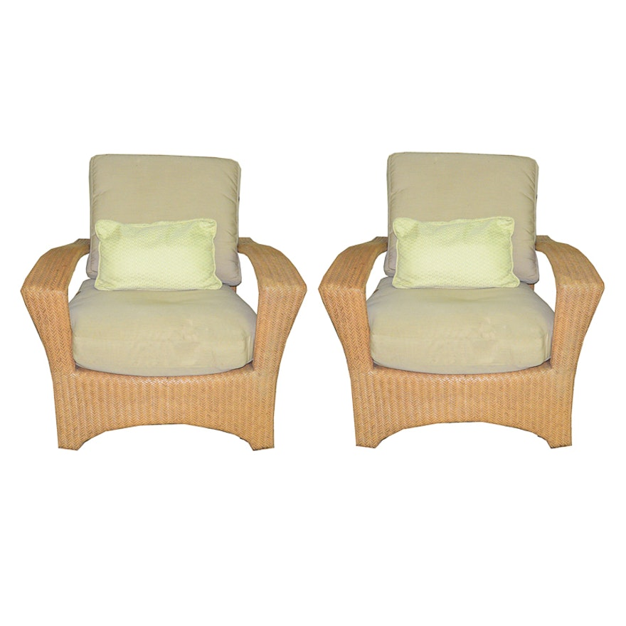 Pair Of Woven Patio Chairs By Ed Bauer
