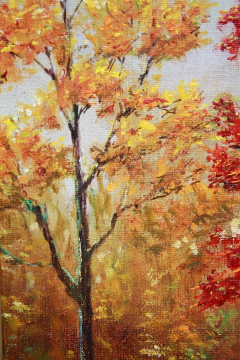 Landscape Oil Painting Signed Fc In Red