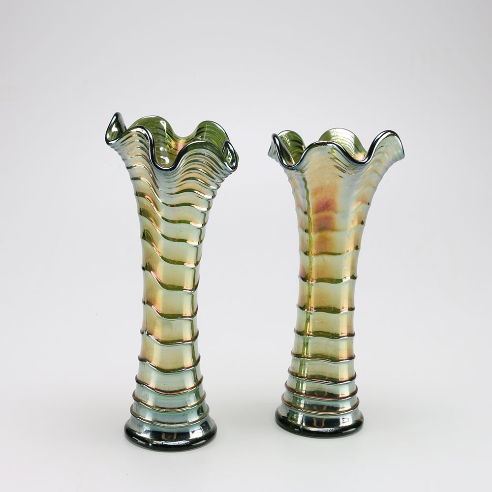 Pair of Lusterware Glass Vases