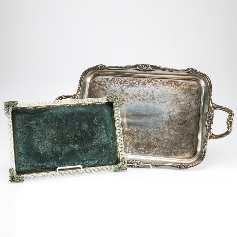 1881 Rogers Silver Plate Serving Tray and Filigree Mirror Tray
