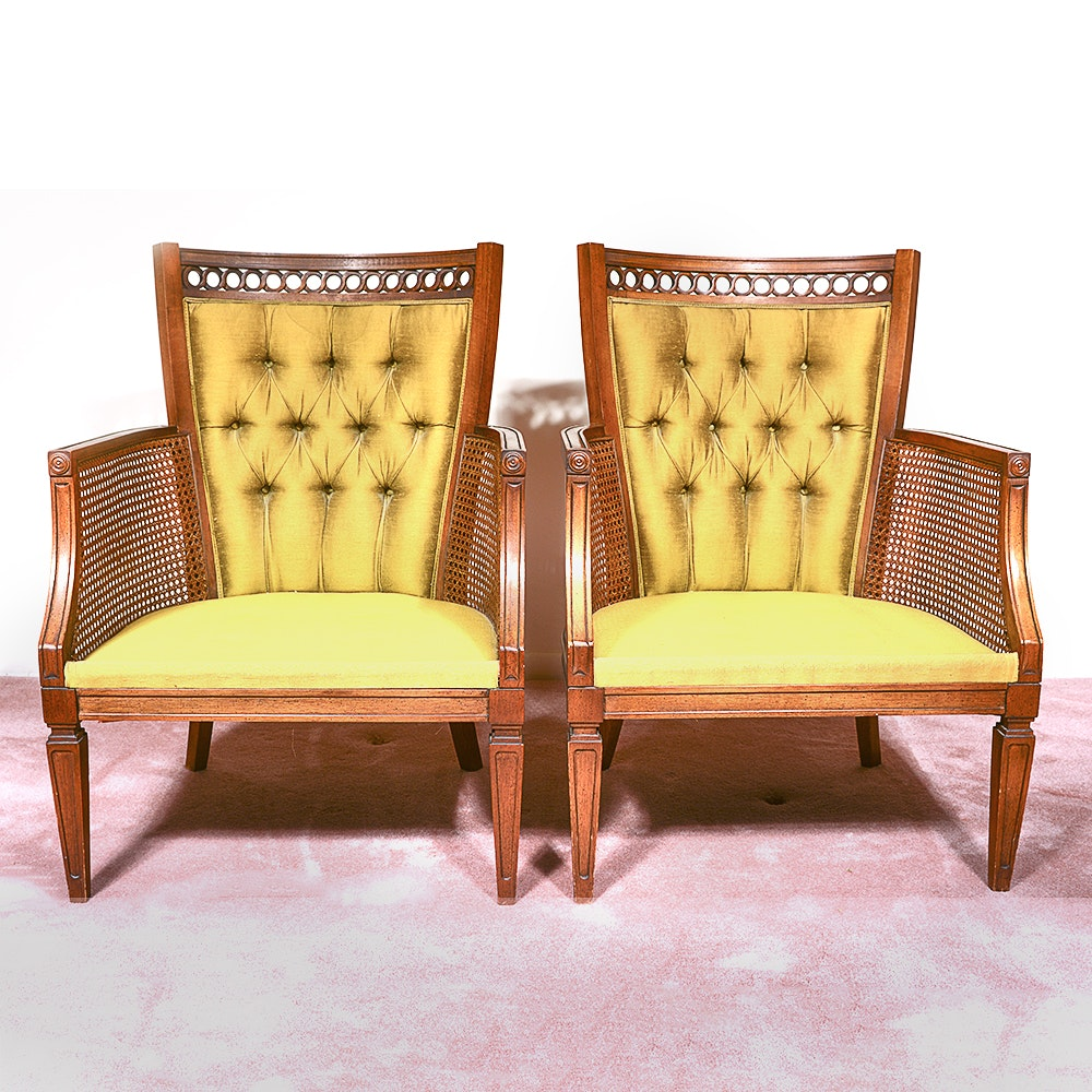 Two MId Century Harvest Green Armchairs