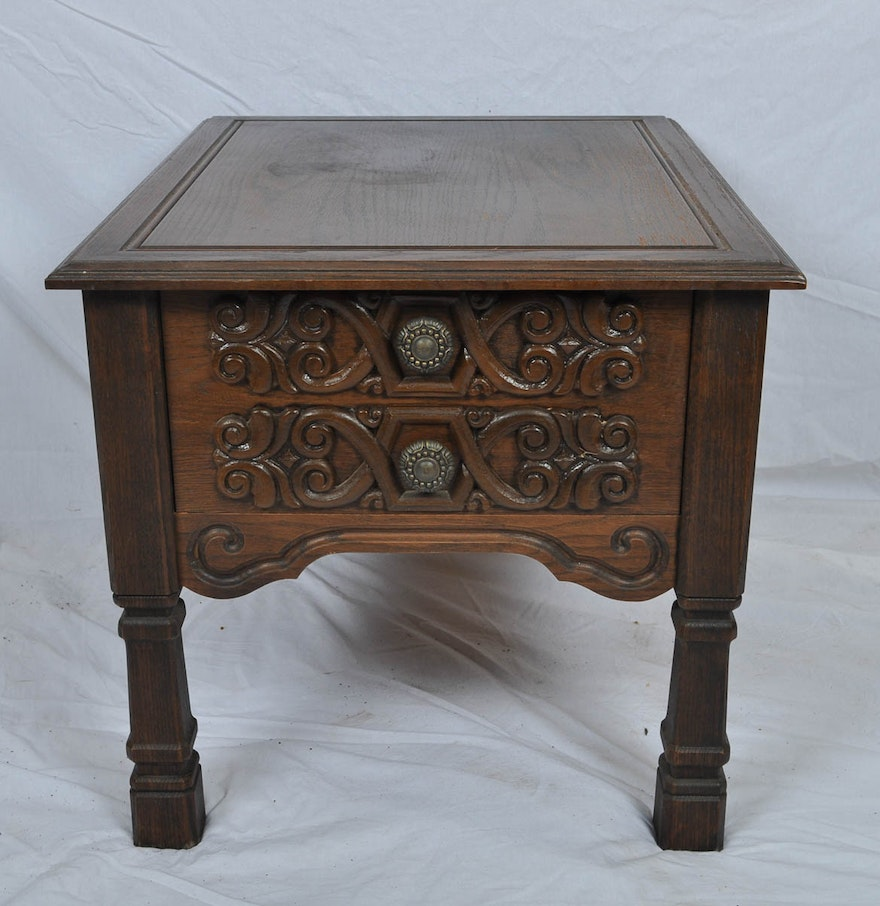 vintage spanish colonial style side table ebth. Black Bedroom Furniture Sets. Home Design Ideas