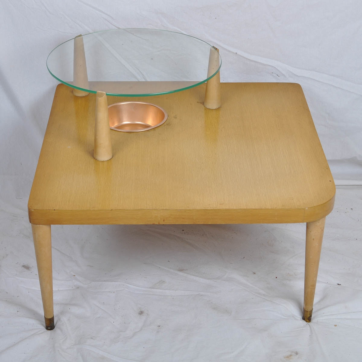 Glass Top Corner Table With Built In Storage Bowl ...