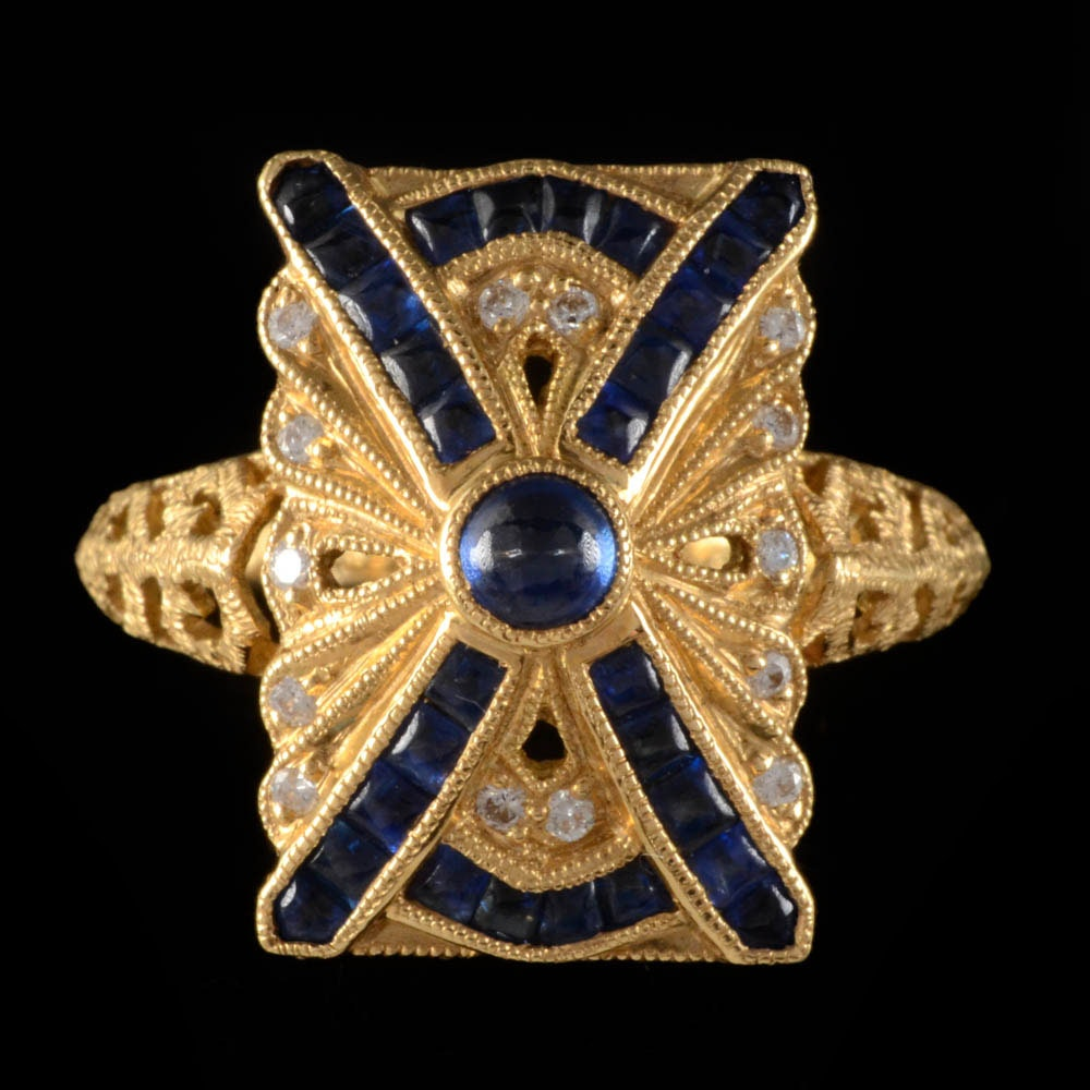 18K Yellow Gold Blue Sapphire and Diamond Openwork Ring