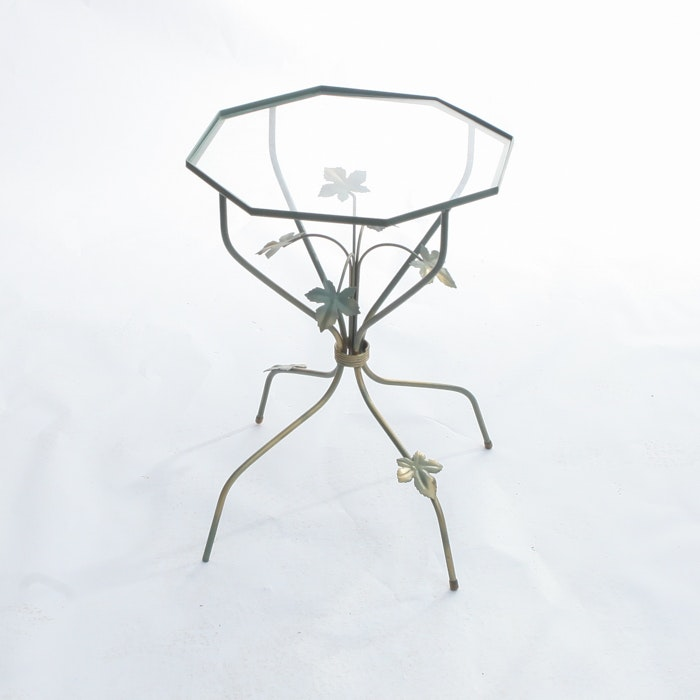 Wrought Iron Glass Topped Side Table