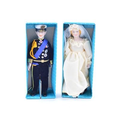 Vintage Princess Diana and Prince Charles Porcelain Dolls