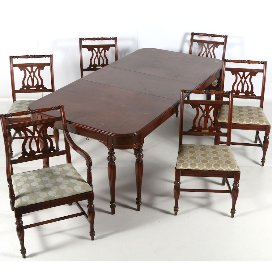 federal sheraton style mahogany dining room table and six