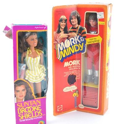 1979 Talking Mork from Ork and Suntan Brooke Shields Dolls