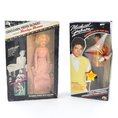 1980s Michael Jackson and Marilyn Monroe Collector Dolls in Packages