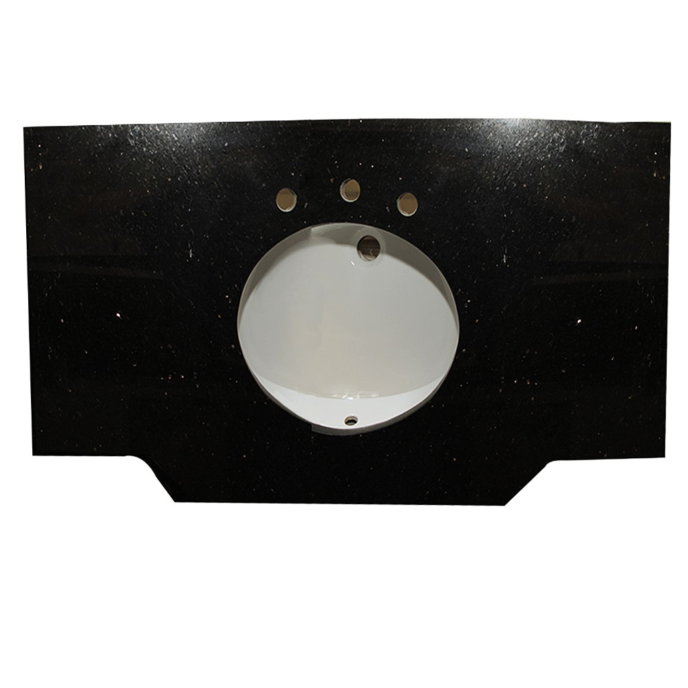 Black Granite Oval Bowl Vanity Top