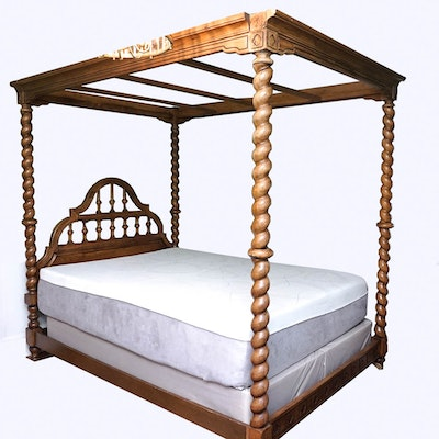Queen Size Chinese Canopy Bed 19th Century Ebth