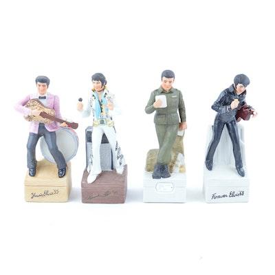 Four Elvis Presley Porcelain Musical Decanters