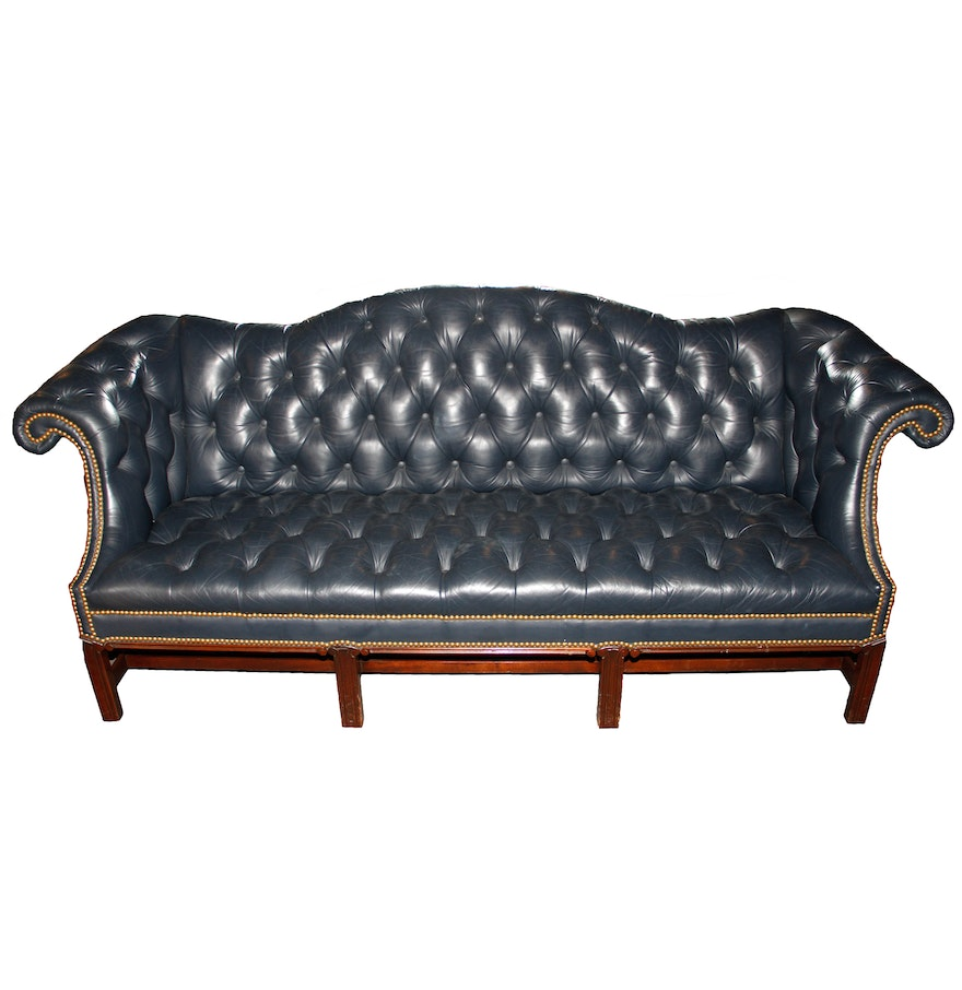 Vintage navy leather tufted sofa ebth for Traditional tufted leather sofa