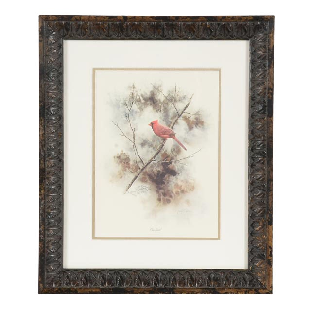 """Jean Victor Signed Offset Lithograph """"Cardinal"""""""