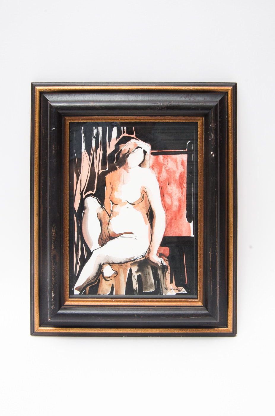 Framed Nude Watercolor Signed Perrotta
