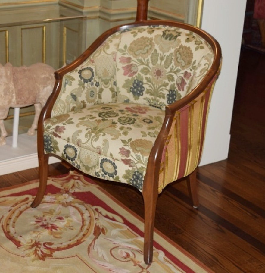 Antique barrel chair - Antique Georgian Barrel Back Chair In Custom Upholstery